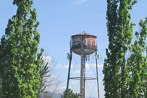 Troutdale, Oregon - The old historic water tower, as seen from downtown