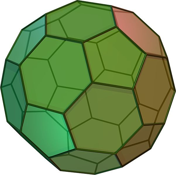 Buckyball: a 32-faced solid with pentagonal and hexagonal faces
