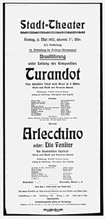 <i>Turandot</i> (Busoni) opera by Ferruccio Busoni