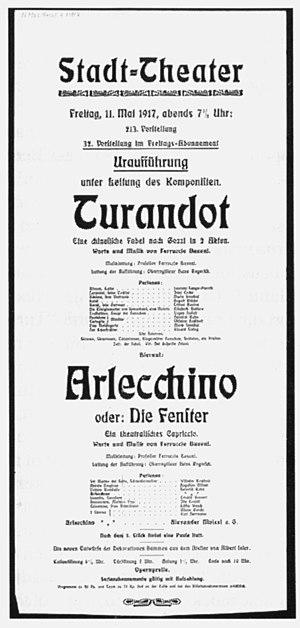 Turandot (Busoni) - Poster for the premiere