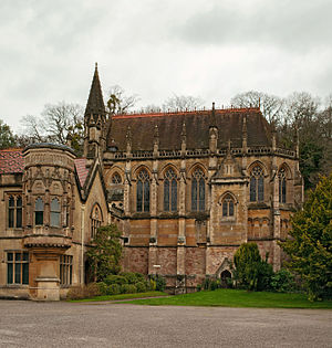 Tyntesfield - The Chapel, modelled by Arthur Blomfield on Sainte-Chapelle in Paris, as viewed from the main entrance courtyard to its south