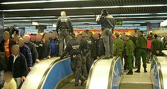 Munich U-Bahn - Munich U-Bahn Police after football game.