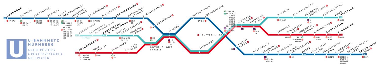 U-Bahn Netz Nürnberg Karte