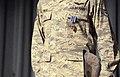 U.S. Air Force Staff Sgt. Roberts Wells wears the Distinguished Flying Cross during an Airman's call at Kadena Air Base, Japan, Aug. 21, 2013 130821-F-EK235-179.jpg