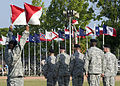 U.S. Soldiers, of U.S. Army Signal Center, and Fort Gordon use the traditional wigwag signal method to direct the troops, at Signal Center commanding general change of command ceremony, on Fort Gordon, Ga. 100721-A-NF756-007.jpg