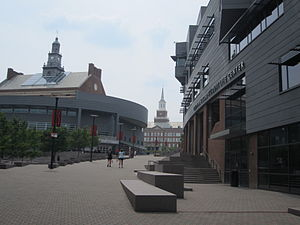 University of Cincinnati - MainStreet, looking past the Steger Student Life Center towards the student union and McMicken Hall