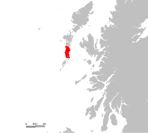 Location of South Uist Uibhist a Deas