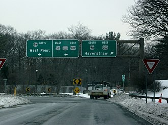 U.S. Route 9W - US 9W, as seen from the north end of Palisades Interstate Parkway at the Bear Mountain Circle in Fort Montgomery