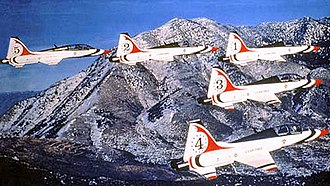 United States Air Force Thunderbirds - T-38 Talons in Thunderbird livery, about 1980.