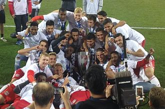 New York Red Bulls II - New York Red Bulls II celebrating their USL Cup victory on October 23, 2016.