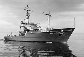 USNS Melville (T-AGOR-14) al largo di Bay City, Michigan, 9 lug 1969