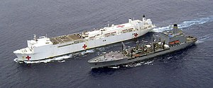 USNS Mercy (T-AH-19) underway replenishment with USNS Tippecanoe (T-AO-199) during Operation Unified Assistance 2005