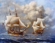 A color painting of two ships at sail. Both ships have 3 masts in which the sails are partially set. The ship on the left is moving toward the right side of the frame, and the ship on the right is moving straight ahead.