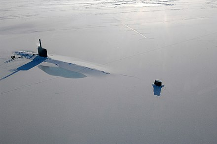 US Navy attack submarine USS Annapolis rests in the Arctic Ocean after surfacing through three feet of ice during Ice Exercise 2009 on 21 March 2009. USS Annapolis ICEX.jpg