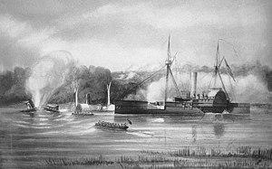 USS Bazely striking a mine