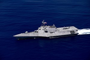 USS Gabrielle Giffords (LCS-10) underway in the Philippine Sea on 1 October 2019 (191001-N-YI115-2128).JPG