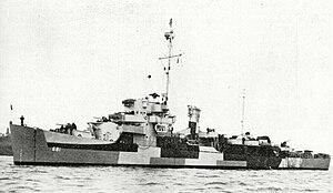 USS Gillette (DE-681) at anchor in June 1944