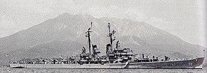 USS Juneau (CLAA-119) at anchor in Kagoshima, Japan, on 25 June 1950 (NH 52364).jpg