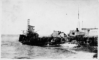 USS Tennessee (ACR-10) - Wreck of Memphis after being stripped of essentials, 1922