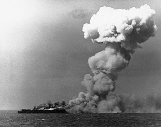 USS Princeton (CVL-23) - USS Princeton on fire east of Luzon, 24 October 1944