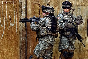 Siege of Sadr City - Two US Army soldiers during a patrol through Sadr City in February 2006