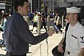 US Navy 070524-N-4936C-059 Culinary Specialist 3rd Class Kyle Simpson speaks to a reporter about Fleet Week 2007 at Ground Zero.jpg