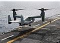 US Navy 090701-N-3165S-134 An MV-22B Osprey from Marine Medium Tiltrotor Squadron 263 (VMM 263) (Reinforced), 22nd Marine Expeditionary Unit, takes off from the flight deck of multi-purpose amphibious assault ship USS Bataan (L.jpg