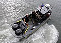 US Navy 100616-N-9643W-243 Sailors and Marines aboard High Speed Vessel Swift (HSV 2) launch a small boat during a Southern Partnership Station 2010 training exercise.jpg