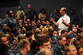 US Navy 100830-N-9818V-478 Vice Chief of Naval Operations (VCNO) Adm. Jonathan Greenert answers questions during an all-hands call in the Fleet Theater.jpg