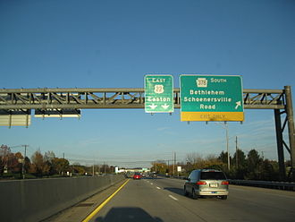 Pennsylvania Route 378 - The interchange with PA 378 on US 22 eastbound in Bethlehem