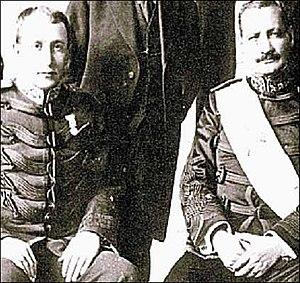 José María Orellana - General José María Orellana (right) and general Jorge Ubico (left) after the coup d'état that deposed president Herrera in 1921.