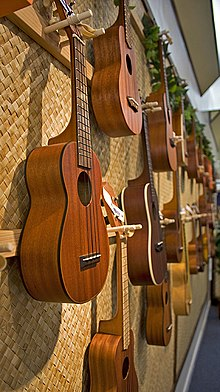 Picture of ukuleles in the Ukulele House, en:Honolulu, Hawaii, by en:User:Tijuana Brass.
