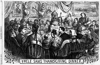 Columbia (name) - Columbia and an early rendition of Uncle Sam in an 1869 Thomas Nast cartoon having Thanksgiving dinner with a diverse group of immigrants