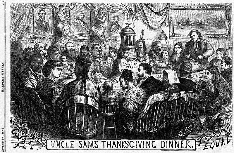Uncle Sam%27s Thanksgiving Dinner (November 1869), by Thomas Nast.jpg