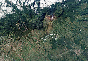 Turrialba Volcano - Turrialba emits a translucent plume of volcanic gases in this natural-colour satellite image.