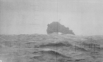 Japanese aircraft carrier Unryū - Unryū sinking, December 19, 1944. Photo taken through the periscope of Redfish.