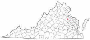 Bowling Green, Virginia - Image: VA Map doton Bowling Green
