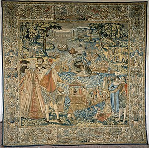 Valois Tapestries - This tapestry depicts festivities at the meeting of the Valois and Habsburg courts at Bayonne in 1565; the harpooned whale spouted red wine.