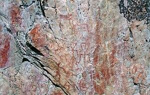 Hossa (Finland) - Detail of Värikallio rock painting.