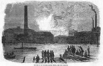 LSWR suburban lines - Contemporary engraving of the Vauxhall station fire