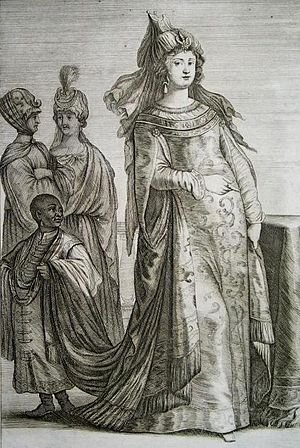 Action of 28 September 1644 - A 1647 engraving from the Theatrum Europaeum of Zafira, allegedly a wife of Ibrahim I, who, with her son Osman, was abducted by the Knights Hospitaller and taken to Malta
