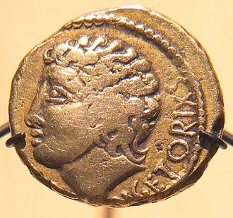Vercingetorix - Gold stater of Vercingetorix, Cabinet des Médailles. This depiction is idealized and symbolic.