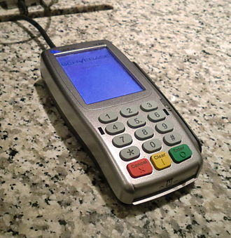 Personal identification number - When using this credit card terminal, a VISA cardholder swipes or inserts their credit card, and enters their PIN on the keypad