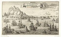 Verovering van Gibraltar door een Engels-Nederlandse vloot, 1704 Verovering van de sterke stad Gibraltar door de gecombineerde Engelsche en Hollandsche Oorlogsvloot (titel op object), RP-P-OB-83.182.jpg