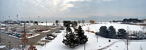 Kellogg School of Management - View of Lake Michigan from 3rd floor dorm of Allen Center, Kellogg School of Business