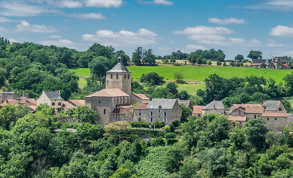 View of present church in Peyrusse-le-Roc, Aveyron, France