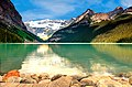 View of the emerald green Lake Louise, and snow-capped mountains in Alberta, Canada, Banff National Park.jpg