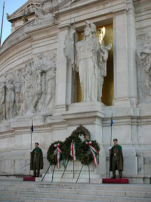 Altare della Patria - Tomb of the Unknown Soldier, under the statue of goddess Roma, with the eternal flame on the right