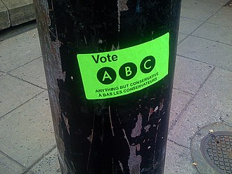 Anything But Conservative - A sticker on a telephone pole advertising the ABC Campaign