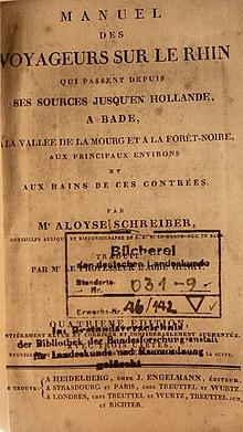 Titelblatt des Reiseführes Voyageurs sur Le Rhin 1807 (Quelle: Wikimedia)